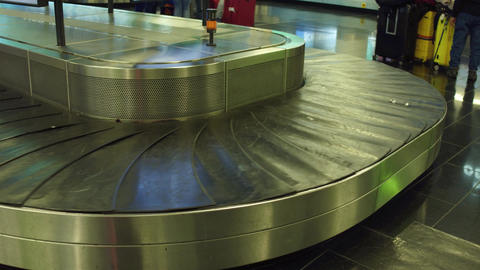 Empty baggage carousel at the airport terminal Footage
