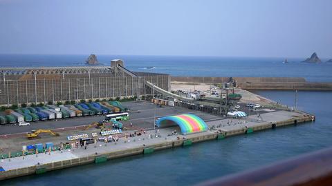 shot of cruise ship arriving at aburatsu port of miyazaki prefecture Archivo