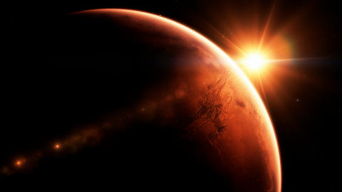 Beautiful sunrise at planet Mars Footage