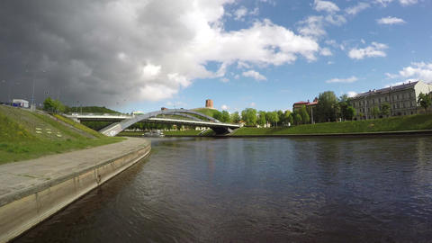 Neris river and historical Gediminas hill with castle in Vilnius, Lithuania. Footage