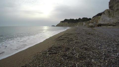 Fourni beach in evening near Monolithos, Rhodes island, Greece. Time lapse Footage