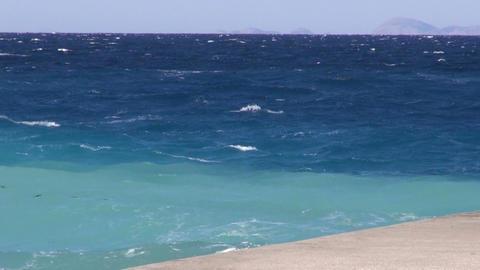 pier on azure Aegean sea in Rhodes island, Greece Footage