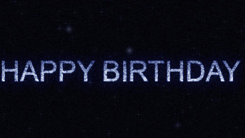 Media screen with glowing white and blue HAPPY BIRTHDAY inscription, loopable Footage