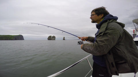 Successful fishing. Sea Safari journey along the Kamchatka Peninsula. Russia Footage
