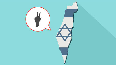 Animation of a long shadow Israel map with its flag and a comic balloon with a V Animation