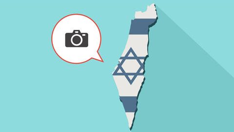 Animation of a long shadow Israel map with its flag and a comic balloon with a Animation
