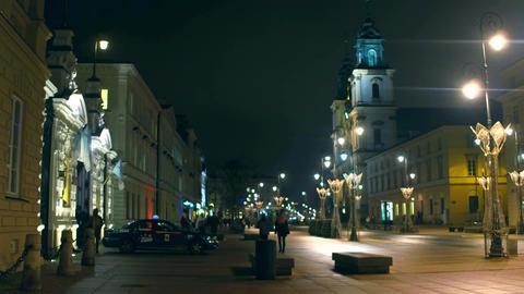 WARSAW, POLAND - NOVEMBER, 28, 2016. Holy Cross Church and beautiful night Footage