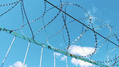 Barbed wire fence. An undesirable visit. Protection from attack and escape Footage