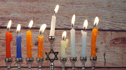 Hanukah candles celebrating the Jewish holiday Footage
