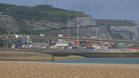 Embarking And Departing Trucks At Dover Harbor, United Kingdom - Native Version Footage