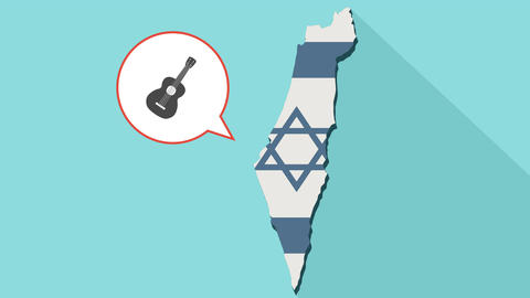 Animation of a long shadow Israel map with its flag and a comic balloon with a Videos animados