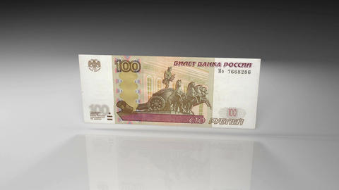 Close up of russian ruble banknote in rotation view on a glossy surface Animación
