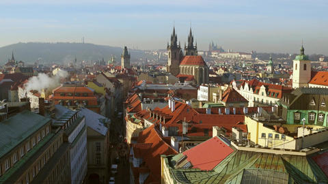 Beautiful roofs of old town of Prague Footage