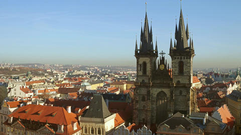 The Church of Our Lady before Tyn and roofs of old town of Prague Footage