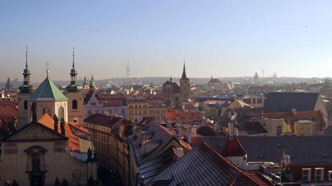 PRAGUE, CZECH REPUBLIC - DECEMBER 3, 2016. Beautiful domes, sloped roofs and Footage