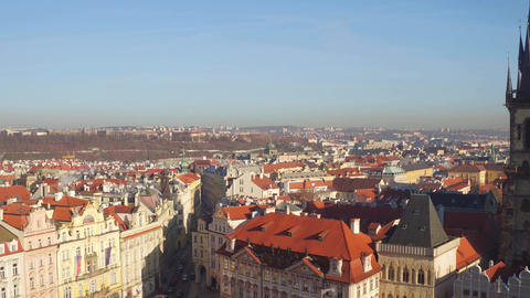 Sloped roofs and gothic spires of Prague on a sunny day in Czech Republic Footage