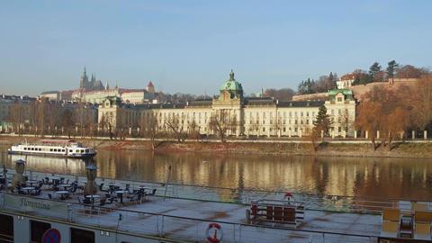 PRAGUE, CZECH REPUBLIC - DECEMBER 3, 2016. 4K steadicam shot of Vltava river Footage