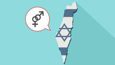 Animation of a long shadow Israel map with its flag and a comic balloon with an Animation