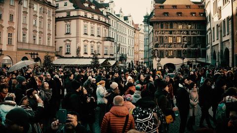 PRAGUE, CZECH REPUBLIC - DECEMBER 3, 2016. 4K steadicam overhead shot of crowded Footage
