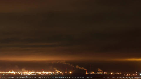 Refinery at night time lapse Footage