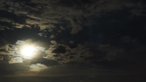 Full Moon Night Clouds Footage