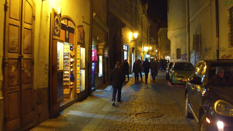 PRAGUE, CZECH REPUBLIC - DECEMBER 3, 2016. Steadicam shot of tourists walking on Footage