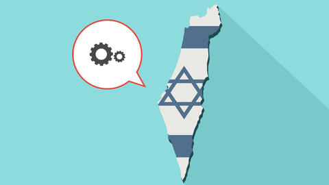 Animation of a long shadow Israel map with its flag and a comic balloon with a Animación