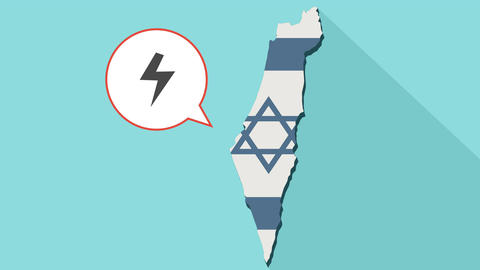 Animation of a long shadow Israel map with its flag and a comic balloon with Animation