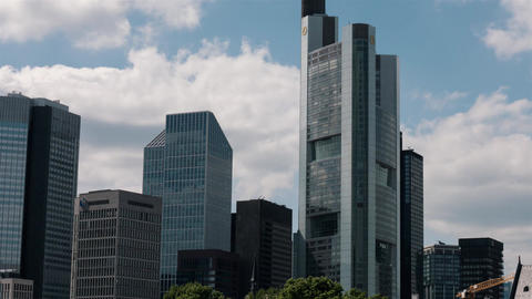 Timelapse of Frankfurt skyline with cloudscape and high-rise skyscrapers ภาพวิดีโอ