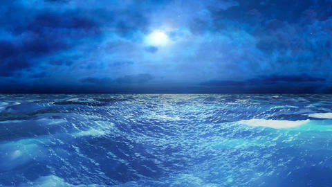 Realistic Stormy Sea at Night, Abstract Loopable Background Animation