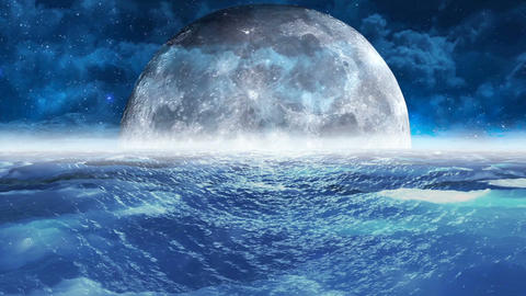 Realistic Stormy Sea at Night with Moon, Abstract Loopable Background Animation