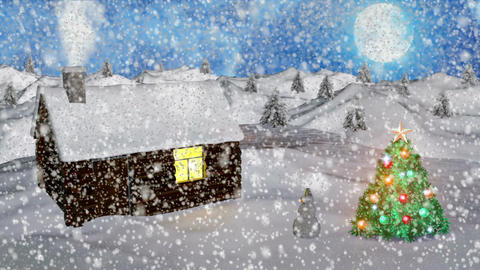 Abstract Loopable Background with nice snow and christmas trees Animación
