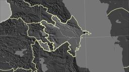 Azerbaijan and neighborhood. Grayscale contrasted Animation
