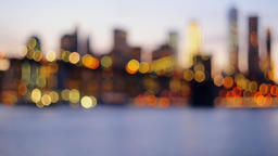 Defocused view New-York City downtown from Brooklyn Footage