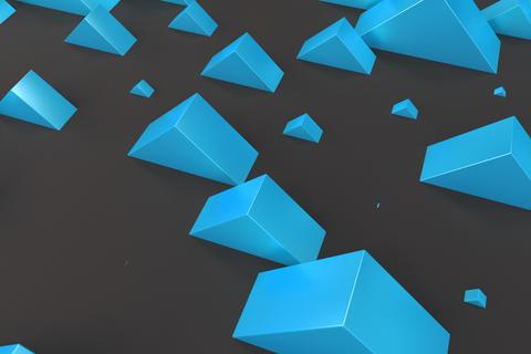Blue rectangular shapes of random size on black background Foto