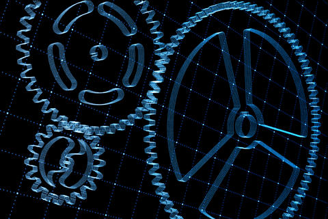 Set of blue gears and cogs on virtual screen Foto
