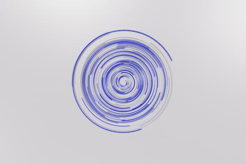 White concentric spiral with blue glowing elements on white back Foto