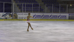 Orenburg, Russia - March 25, 2017 year: Girls compete in figure skating Live Action