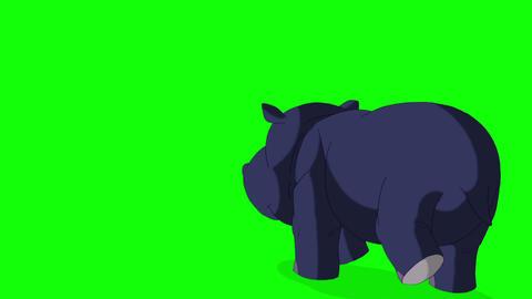 Little Blue Hippo Runs Back View Animation