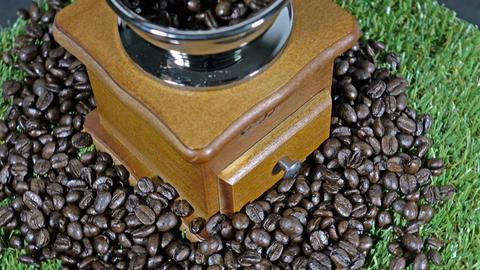 Coffee grinders vintage and coffee beans Footage