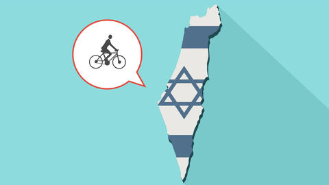 Animation of a long shadow Israel map with its flag and a comic balloon with man Animación