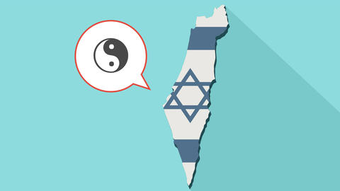 Animation of a long shadow Israel map with a ying yang 애니메이션