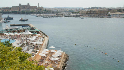 beach near the harbor, Malta, Valletta Footage