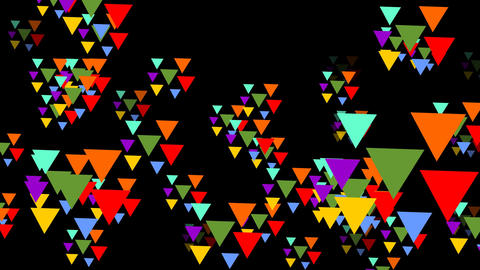 Multicolored triangle groups flying trough space. Triangles in vivid psychedelic Animation