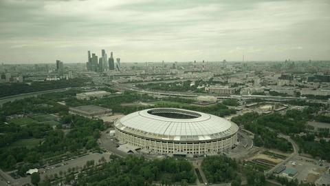 Luzhniki football stadium and distant business center skyscrapes Footage