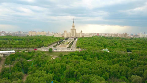 Moscow State University MSU and Vorobievy Gory or Sparrow Hills recreation area Footage