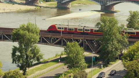 WARSAW, POLAND - AUGUST 26, 2017. Aerial view of a shuttle train moving on the Footage