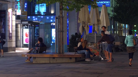 VIENNA, AUSTRIA - AUGUST 11, 2017. Young people hanging out in the city in the Footage