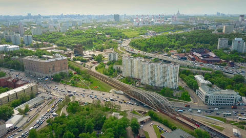 Cityscape and congested traffic in Moscow in the rush hour Footage