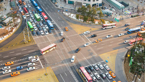 Time lapse traffic at Gangnam in Seoul, South Korea.4K Footage